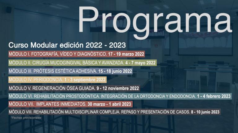 Curso Modular 2022-23. Fechas de la celebración de cada uno de los módulos.